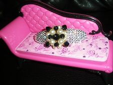 Crystals & VINTAGE PEARLS & BEADS Jewelry BARRETTE Black/White NICE!