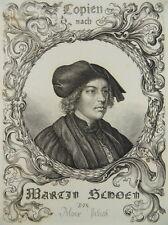 KUPFERSTICH PORTRAIT MARTIN SCHONGAUER ALOIS PETRAK 1850 F74