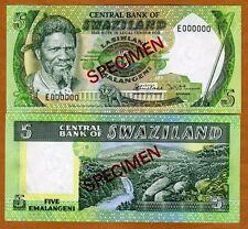 Specimen, Swaziland, 5 Emalangeni, (1982) P-9s1, Unc