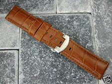 24mm Leather Strap Deployment Buckle Brown Watch Band Set PAM 104