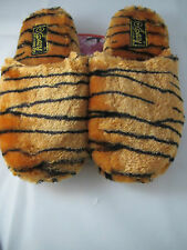 Plush Animal Tiger Print Slippers Womens Small 5/6 No Slip Sole Comfy Warm Soft