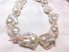 """TOP LUSTER Rare Huge 17""""50mm REAL south sea baroque WHITE pearl necklace,SILVER"""
