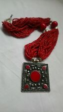 Vintage Coral Glass Bead Bohemian Necklace Red  Bead Metal Pendant