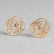 Fashion Women Flower Stainless Steel Stud Earrings Jewelry Gifts Gold/Silver New