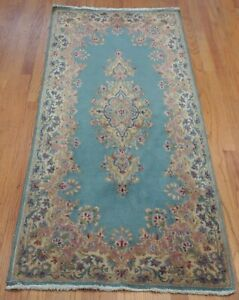 "2'5"" x 5'4"" Antique Floral Kermann Hand-Knotted Wool Blue Oriental Rug Cleaned"