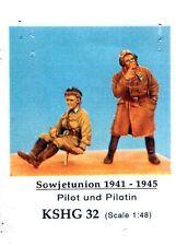 HECKER GOROS KSHG 32 - PILOT UND PILOTIN SOWJETUNION 1941-45 - 1/48 WHITE METAL