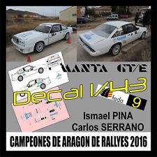 Decal 1/43 Opel Manta GT/E I. Pina-C. Serrano Campeones de Aragon de rallys 2016