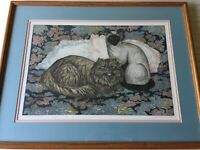 Dorothy Lundquist Cat and Pillows Limited Edition Etching Print, Signed, Framed