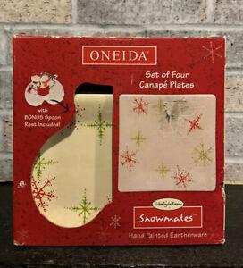 Oneida Snowflake Square Canape Plates Set Of 4 Bonus Snowman Spoon Rest