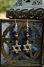 STAR OF DAVID GARNET GEMSTONE EARRINGS Wicca Pagan Spiritual Metaphysical