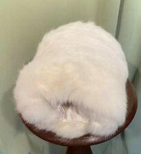 "Sweet Vintage White Rabbit Fur Hand Warmer Muff 9"" by 6.5"" in Diameter"