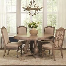 ANTIQUE LINEN FINISH ROUND DINING TABLE CHAIRS DINING ROOM FURNITURE SET  SALE