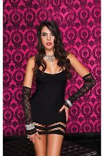 Black Opaque Open Hem Detail Stretch Mini Dress Sexy Designer Lingerie P6435
