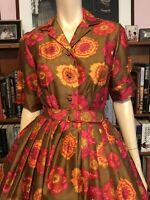 Vintage DYNASTY HONG KONG 100% SILK FLORAL FIT FLARE Shirtwaist Dress BELTED 4