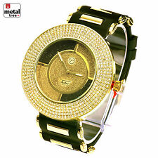 Men's Hip Hop Iced Out 14k Gold Plated Silicone Band Techno Pave Watch 7982 GBK