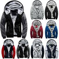 Men Winter Warm Hoodie Jacket Fur Lined Thick Fleece Hooded Coat Parka Oversize