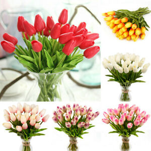 Artificial Tulips Flower Latex Real Touch Bridal Wedding Bouquet Home Decor 5pcs