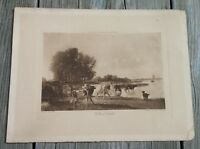 Antique A.W. Elson Photogravure Print Holland Cattle By Constant Troyon