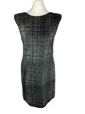 Tibi Size UK 10 Black Grey Checked Pencil Dress Work Office Career