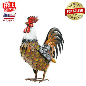 Garden Rooster Statues & Sculpture, Metal Chicken Animal Yard Art Lawn Ornament
