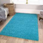 Aqua Teal Blue Soft Fluffy Shaggy Rug Bright Colourful Modern Rugs For Lounge UK