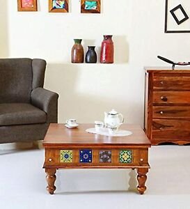 Indian Handmade Wooden Lewiston Coffee Table (Lacquered, Honey)