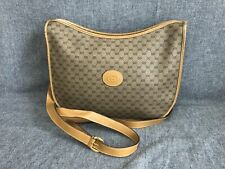 Authentic GUCCI Micro GG Shoulder Bag PVC Leather Brown