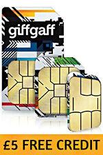 GIFFGAFF O2 NANO MOBILE SIM CARD MOBILE PAY & GO  IPHONE 6 7 £5 FREE CREDIT 1p.