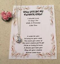 BE MY FLOWER GIRL SILVER PLATED NECKLACE HEART FLOWER INFINITY GIFT CARD