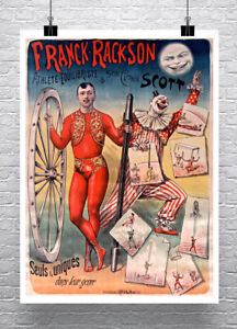 Athlete Equilibriste Circus Sideshow Poster Fine Art Print on Canvas or Paper