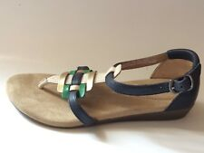 Clarks Womens 6 M Ankle Strap Thong Sandal Navy Blue Green Leather Strappy Shoes