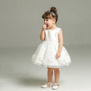 Newborn Baby Girls White Christening/Birthday/Prom Tutu Party Princess Dress