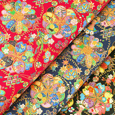 Japanese Cotton Fabric by FQ Oriental Butterfly Flower Ball Asian Retro Art VJ31