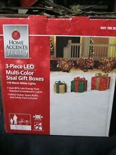 Home Accents Holiday ~ 3 Piece Lighted Multi-Color Sisal Gift Boxes ~