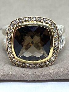 David Yurman Silver 925 & 18k Gold Albion 11mm Amethyst  Diamond Ring Sz 10
