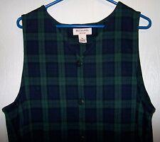 Bechamel Petite Green Plaid Knit Long Dress Sleeveless Button Down Size PL