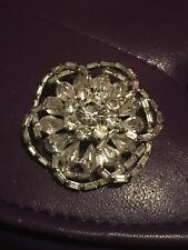 Large Flower Brooch Vintage White Crystal