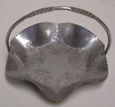"Vintage Thames Hammered Aluminum Basket W Handle Roses Ruffled 7""x7""  Japan"