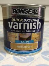 Ronseal Quick Drying Varnish MEDIUM OAK SATIN - 250ml LOW ODOUR