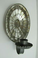 ANTIQUE OVAL MIRROR TIN WALL CANDLE SCONCE CANDLESTICK HOLDER LAMP MOSAIC LIGHT