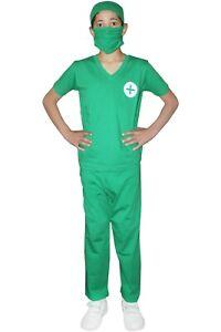 Children Boys Bloody Scrubs Halloween Costume Kids Doctor Surgeon Fancy Dress WF