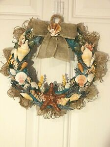 Seashell Wreath Beach Coastal Summer Burlap Door Wall Hanging (See Size) 13""
