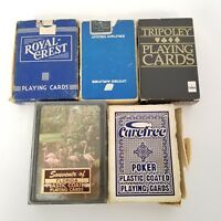 Vintage Playing Cards Lot of 5 Decks OPENED Damaged