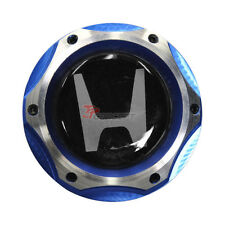 2 Tone Blue Chrome Engine Oil Filler Fuel Cap Tank Cover Aluminum Silver Emblem