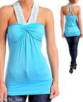 Light Blue Crochet Applique Front Tank Straps Cross Back Sleeveless Top S/M/L