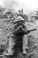 WWII Photo US Marine with Flamethrower  USMC Pacific World War Two  WW2 / 1022