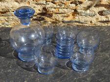 Carafe et 6 verres bleus décor dégagé à l'acide Art Déco 1920-1930 vin apéritif