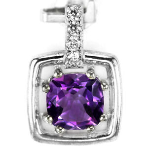 NATURAL AAA PURPLE AMETHYST CUSHION & WHITE CZ STERLING 925 SILVER PENDANT
