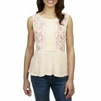 Lucky Brand Women's Peach Embroidered Pin tuck Sleeveless Casual Top NWT