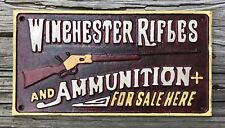 WINCHESTER RIFLES AND AMMUNITION FOR SALE HERE Vintage Cast Iron Sign